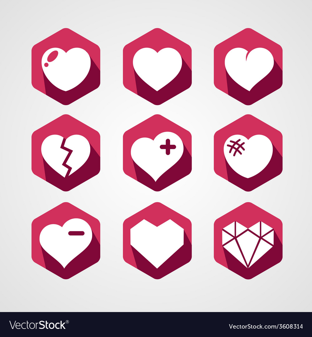 Set of love signs 9 Hearts icons