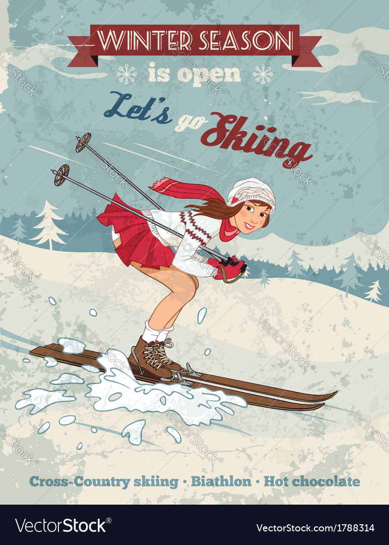 Vintage pin up girl skiing poster