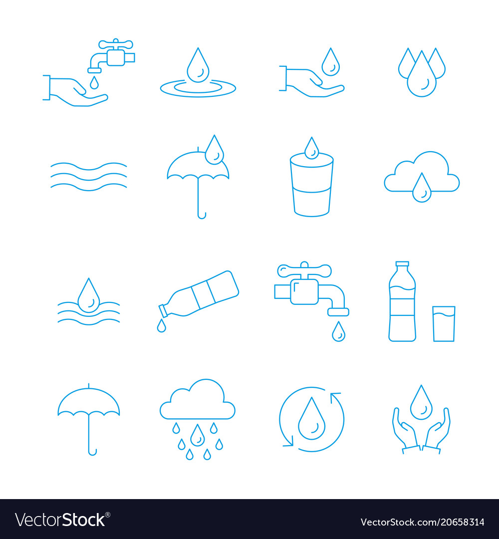 Water and drop icon set in thin line style