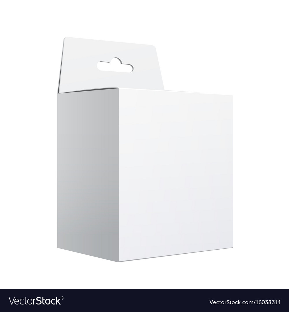 White package carton box with hang slot vector image