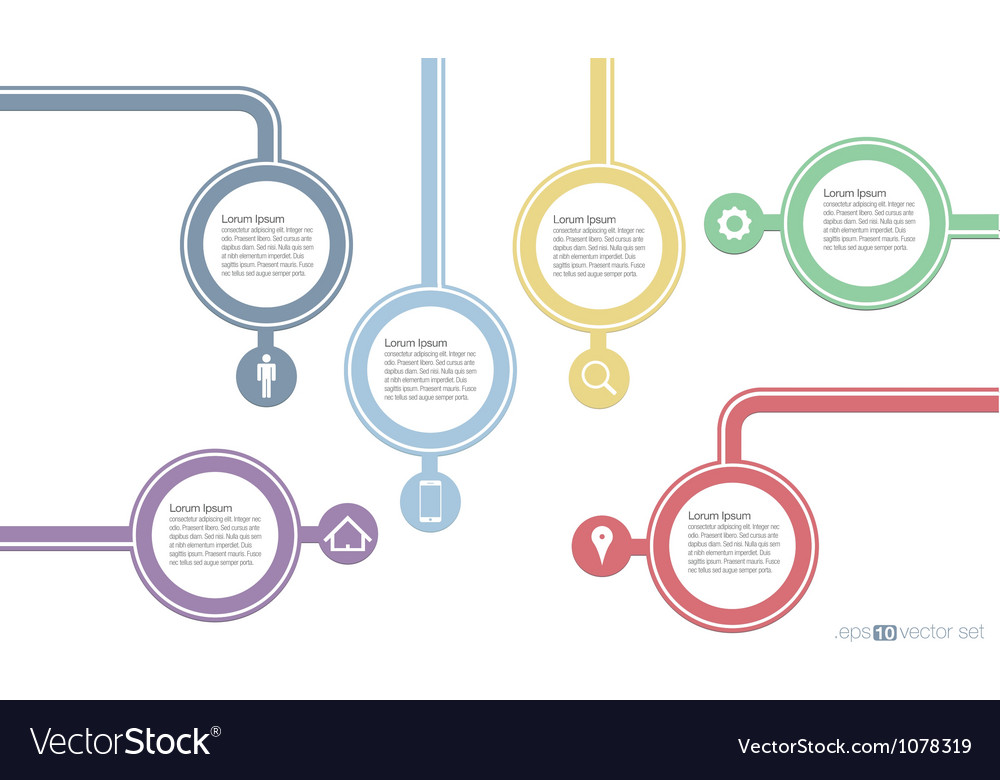 Abstract 5 Steps template vector image