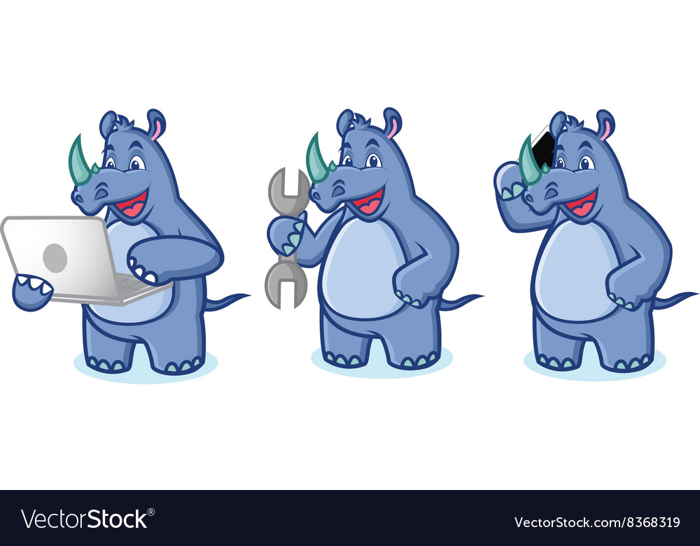 Blue Rhino Mascot with laptop vector image