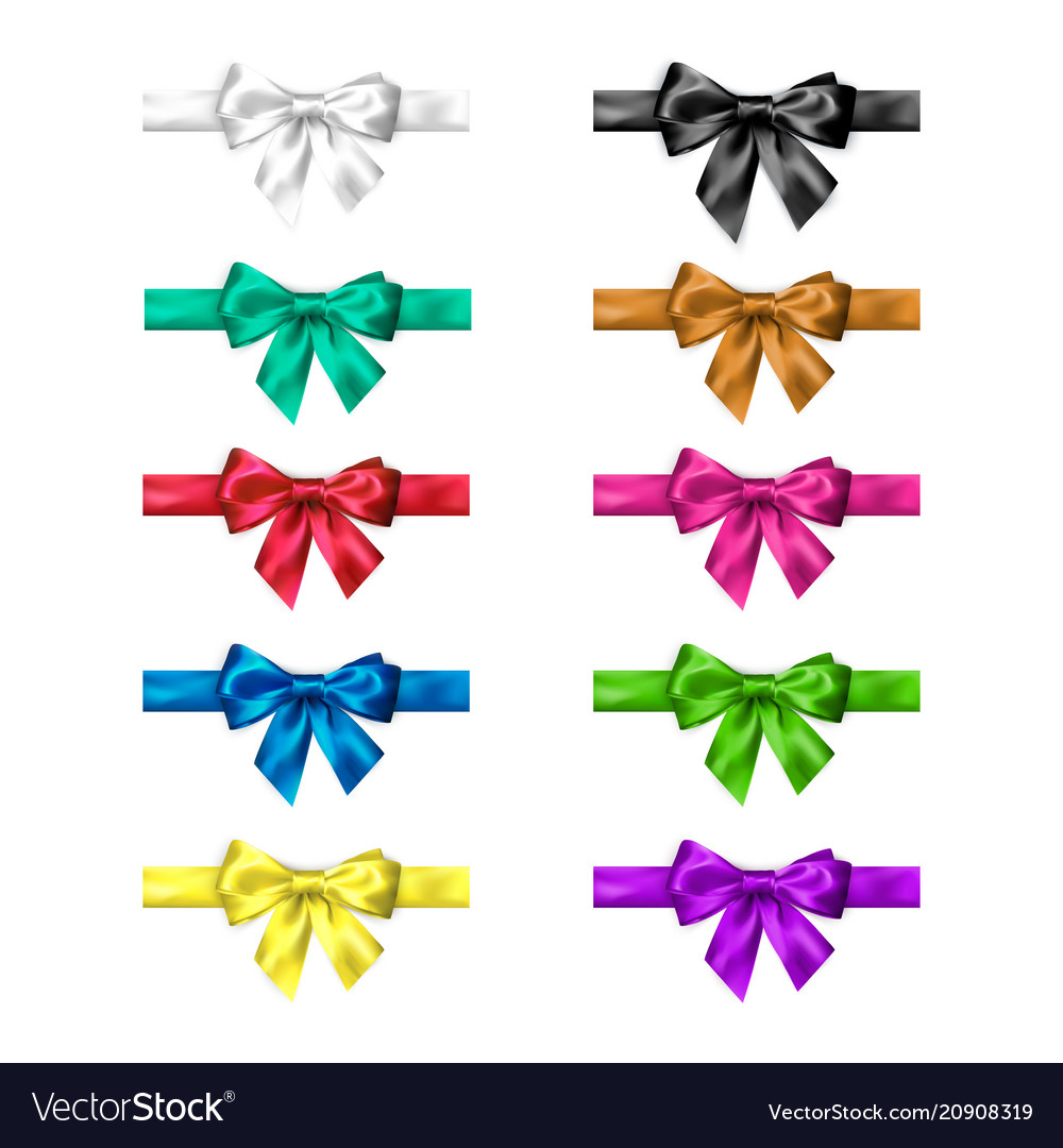 Colorful silk bow set with ribbons decoration
