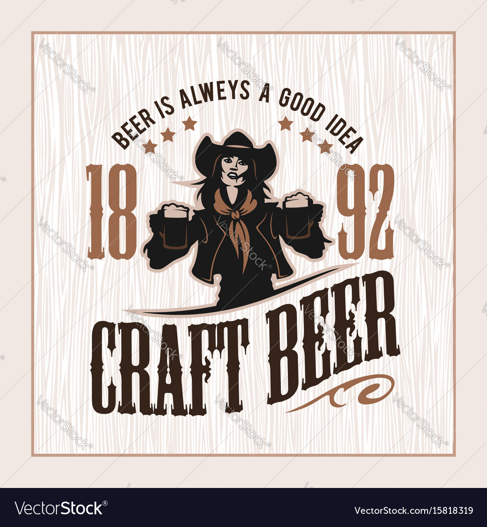 Craft beer and girl logo vector image