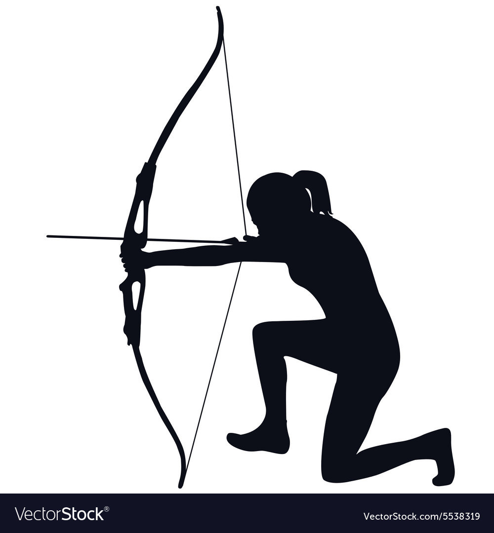 female archer with bow and arrow royalty free vector image rh vectorstock com bow and arrow png vector bow and arrow png vector