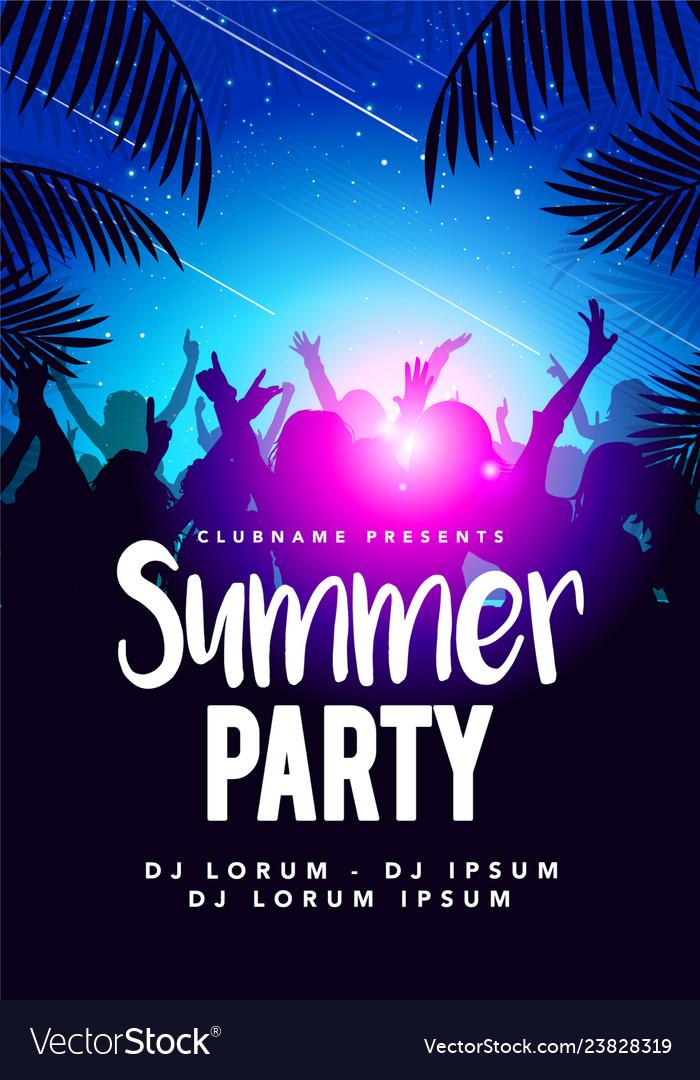 Flyer poster design template summer beach party