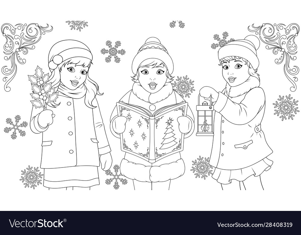 Funny kids singing for christmas coloring book