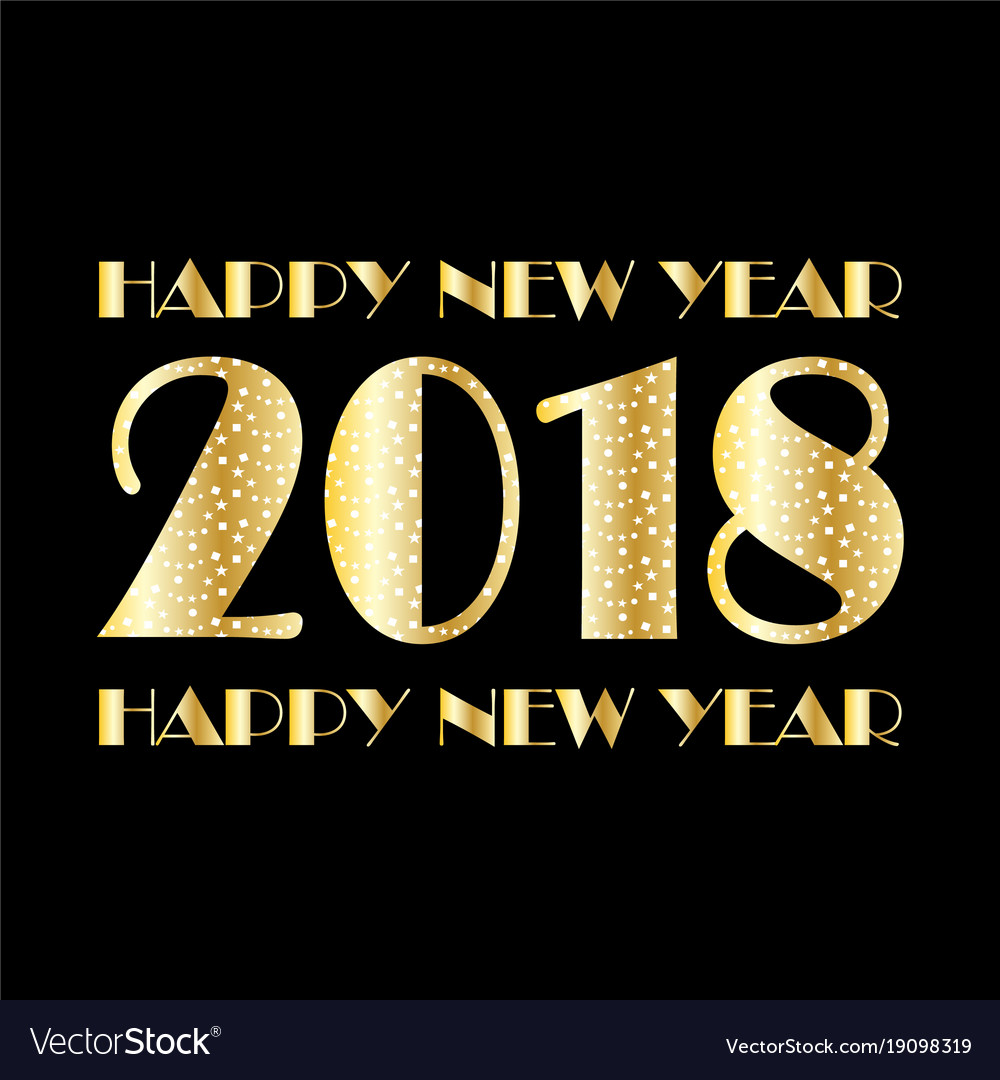 Gold white confetti and stars 2018 on black vector image