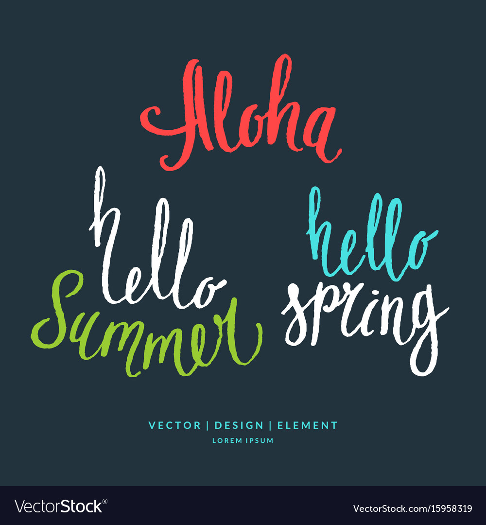 Modern hand drawn lettering word aloha hello