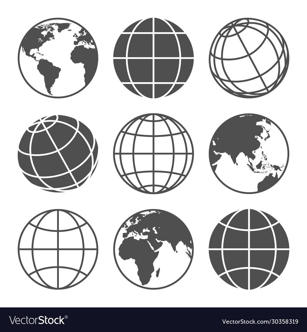 Planet map globe icons