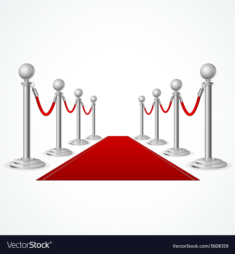 Red event carpet isolated on white