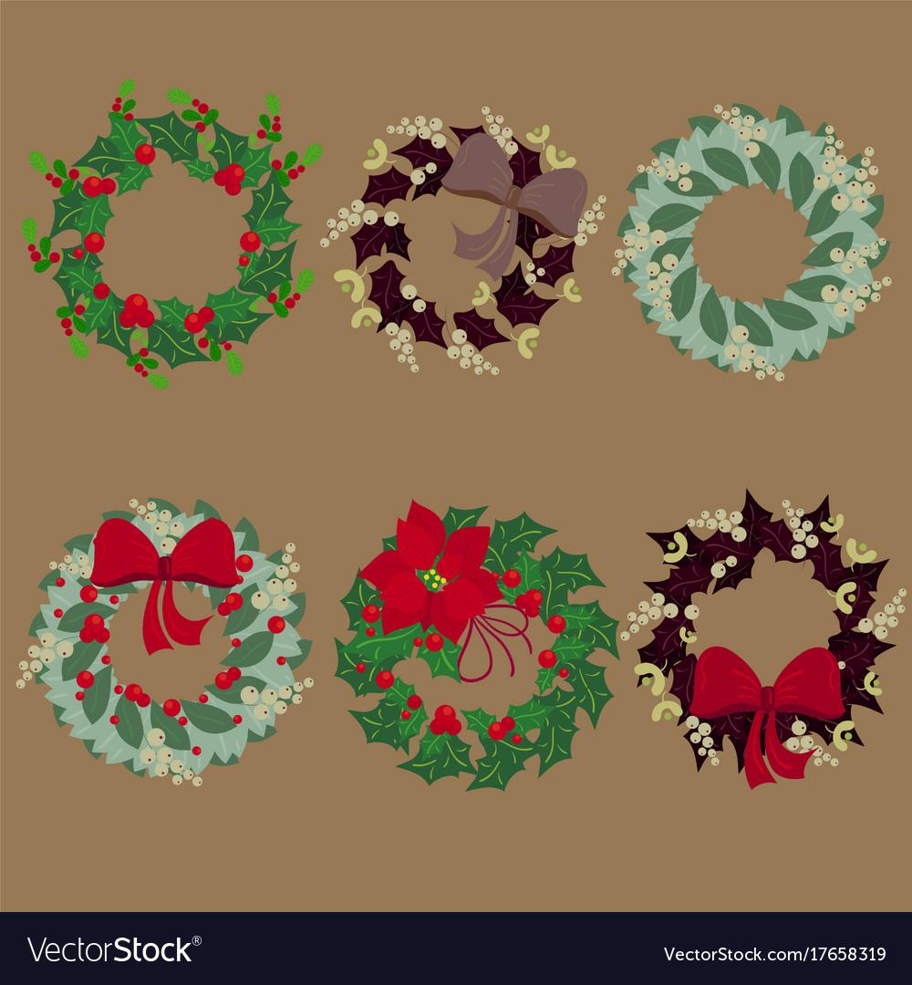 Christmas Wreaths.Set Of Christmas Wreaths