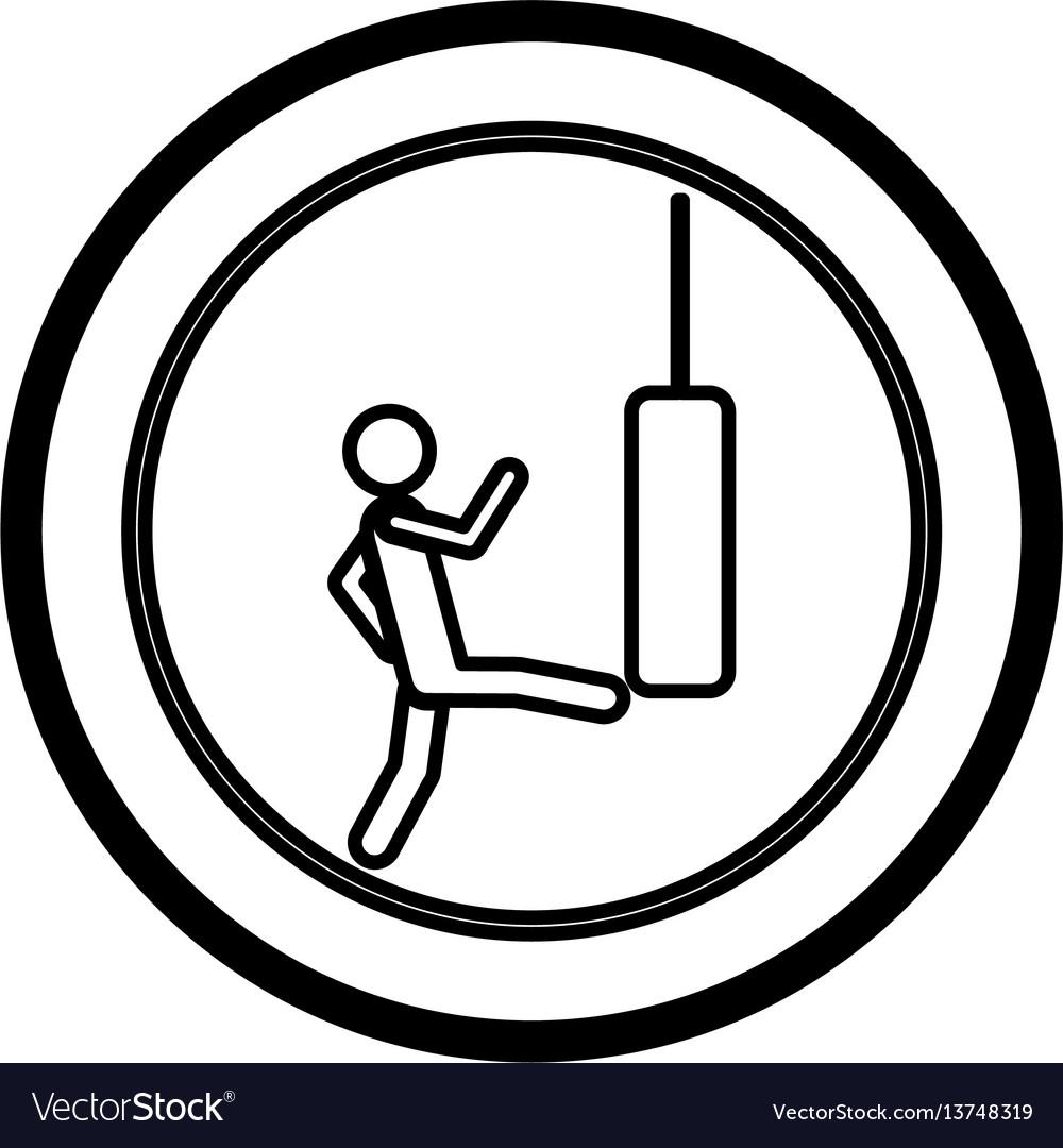 Symbol person kicking a punching bag