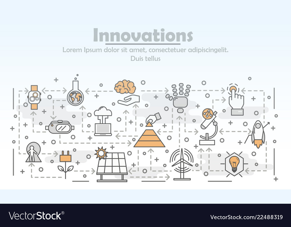 Thin line art innovations poster banner