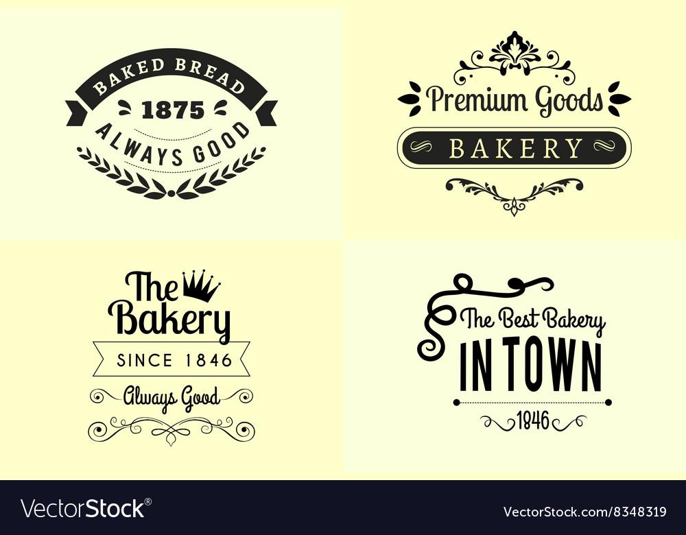 Typography bakery badge design set