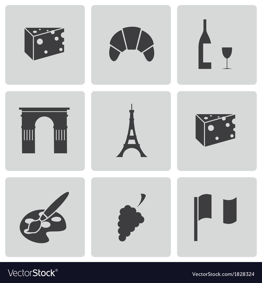 Black paris icons set vector image