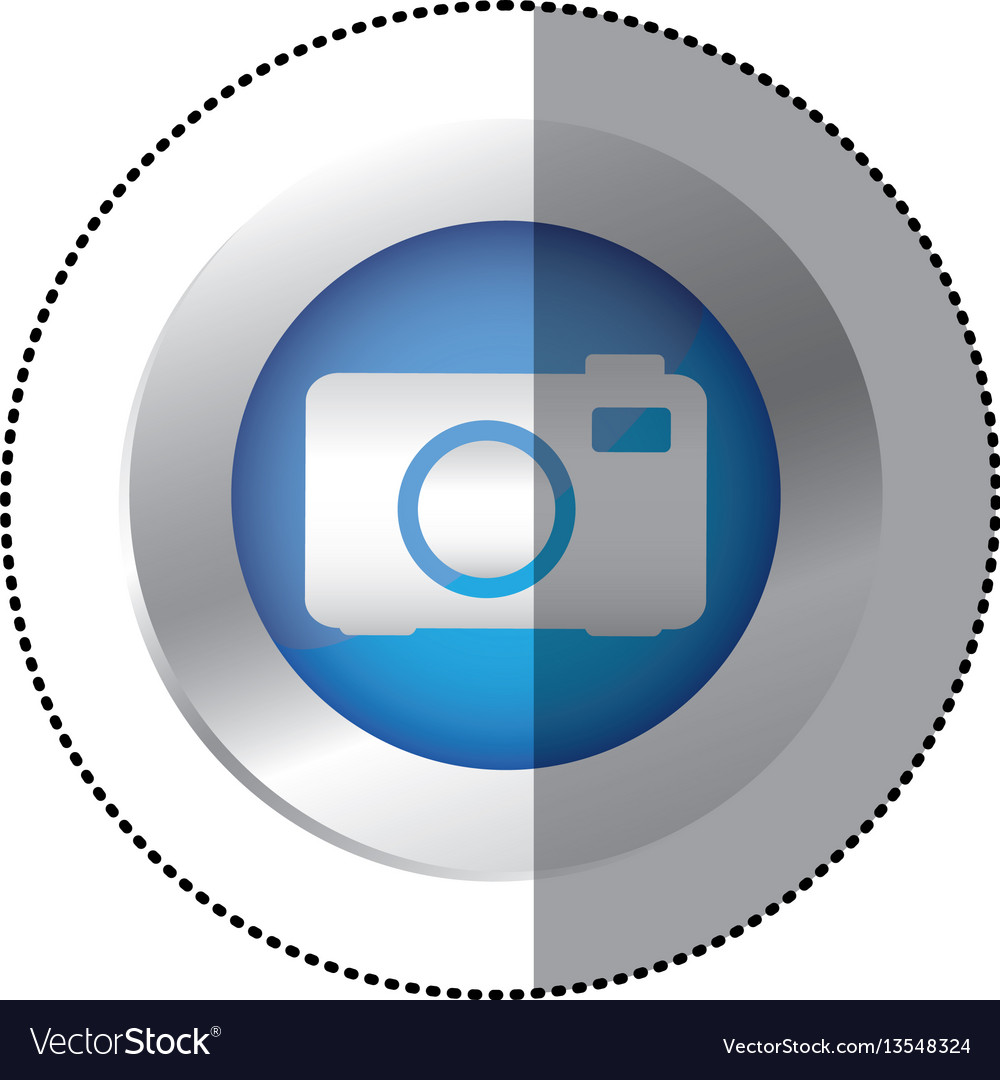Blue symbol camera icon vector image