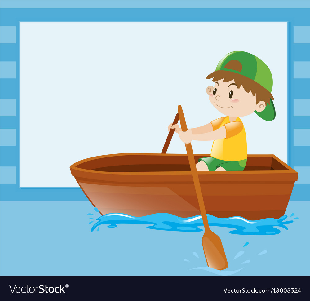 Boat Template | Border Template With Boy Rowing Boat Royalty Free Vector