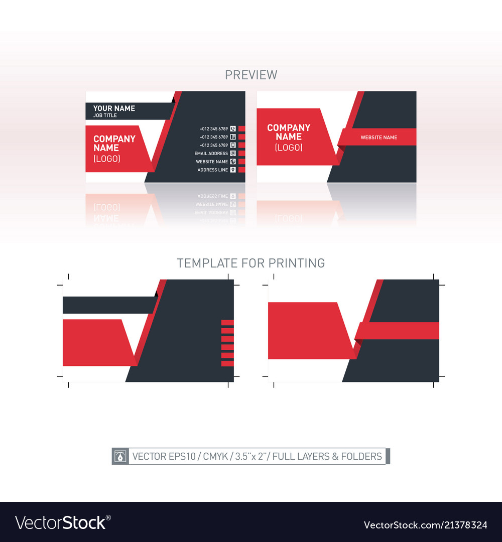 Business card template one to one dimensions for vector image wajeb Images