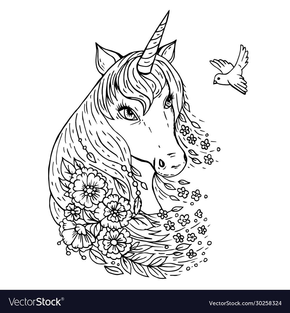 Doodle a cute unicorn head looking at bird