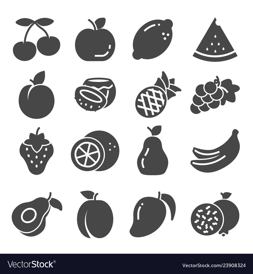 Gray fruit icon set collection vector