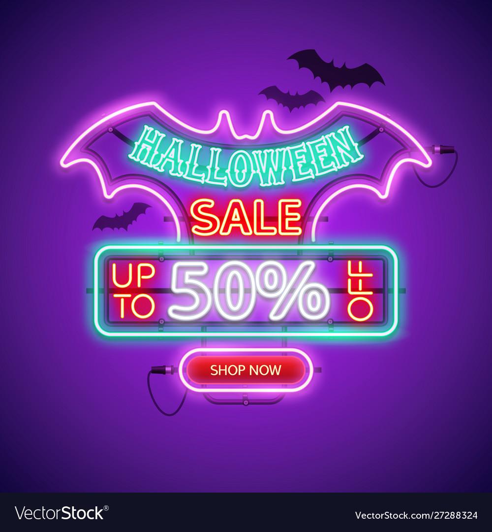 Halloween sale neon sign