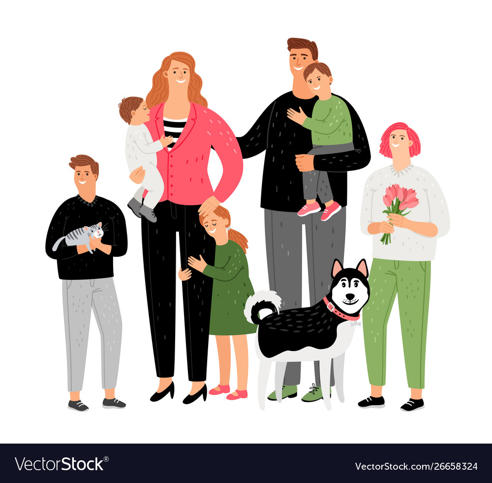 Happy family parents with children and pets