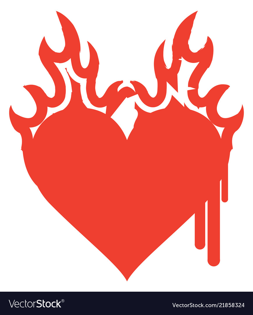 Icon red heart on fire with ink drips