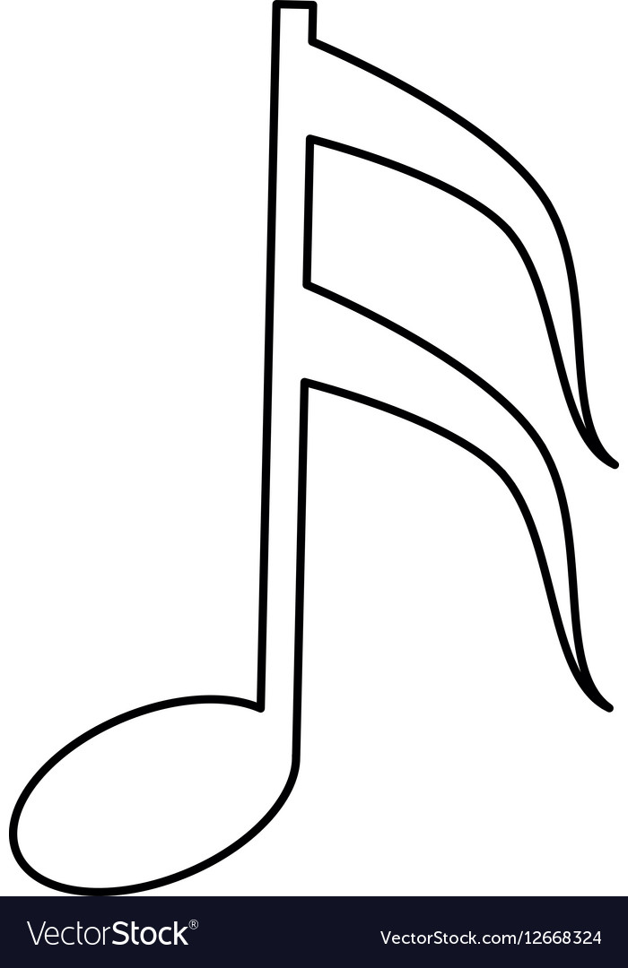 Musical Note Melody Symbol Outline Royalty Free Vector Image
