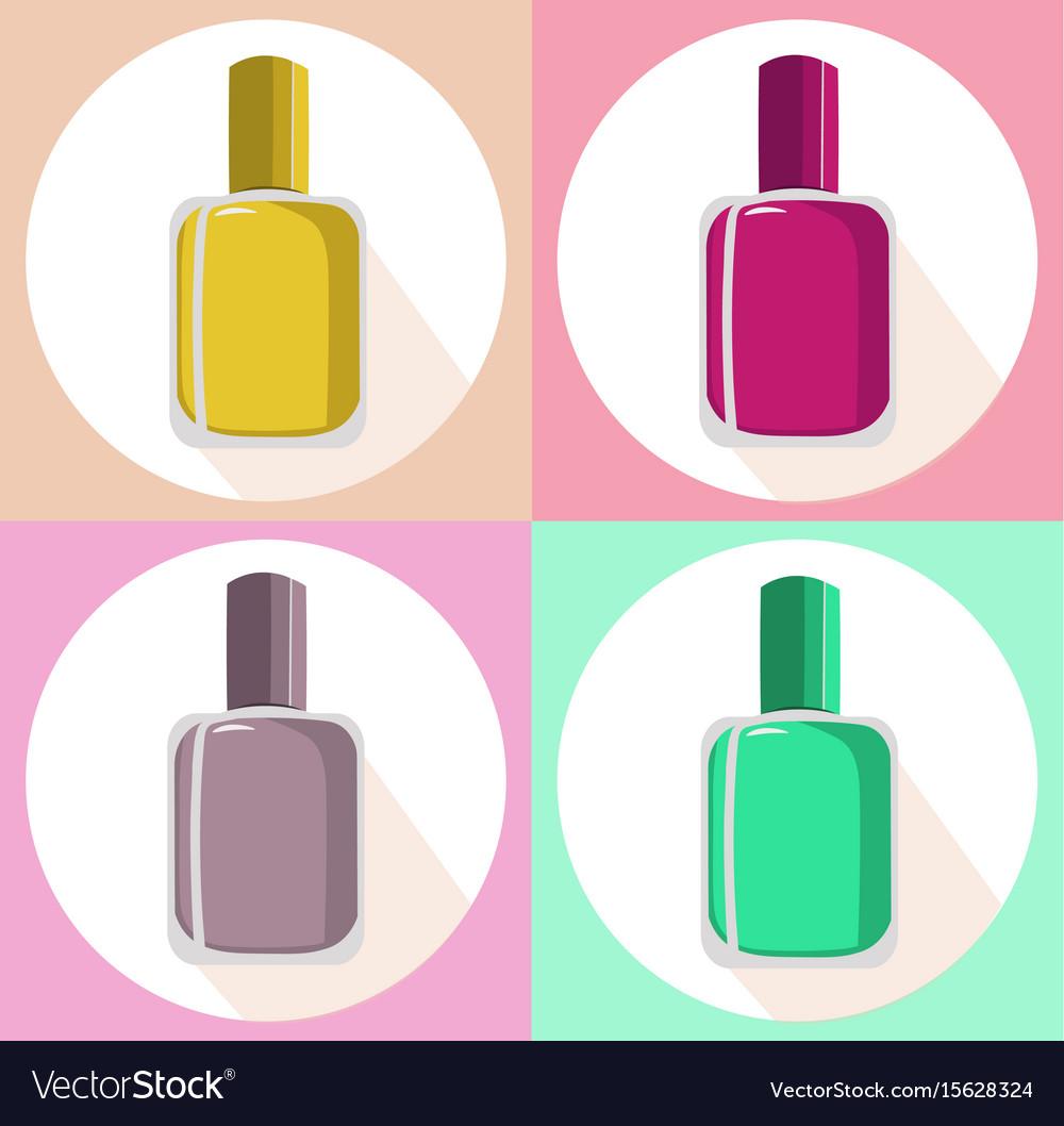 Nail polish set icon template colorful Royalty Free Vector