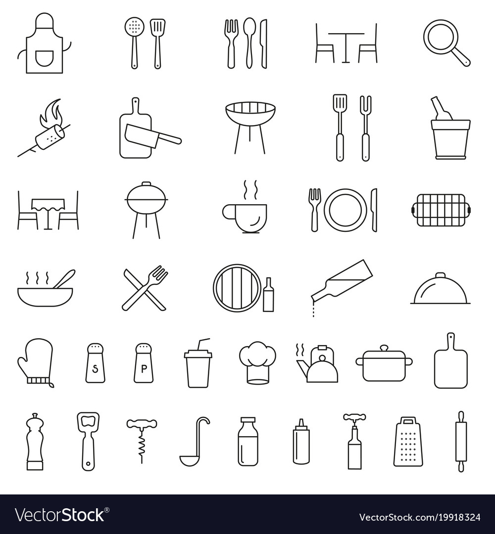 Restaurant cooking kitchen icons set vector image