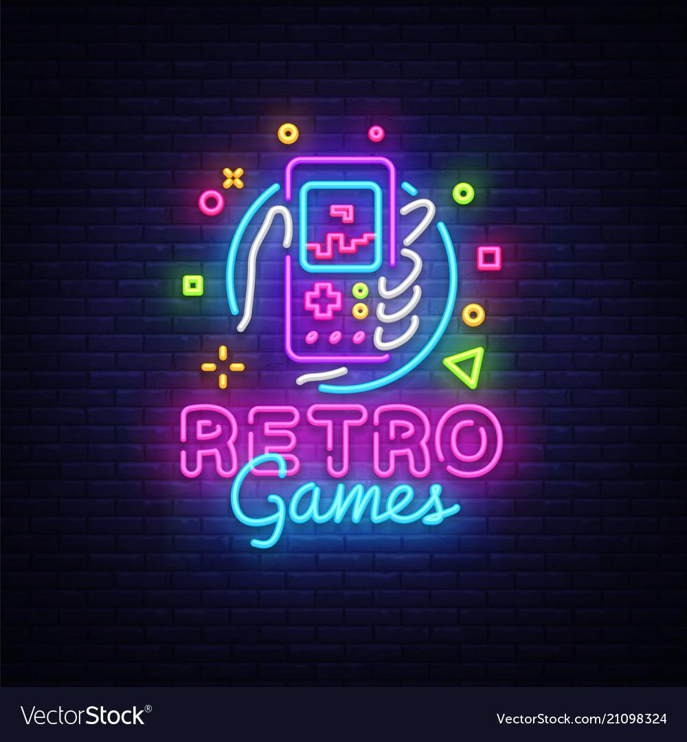 Retro games logo retro geek gaming gamepad