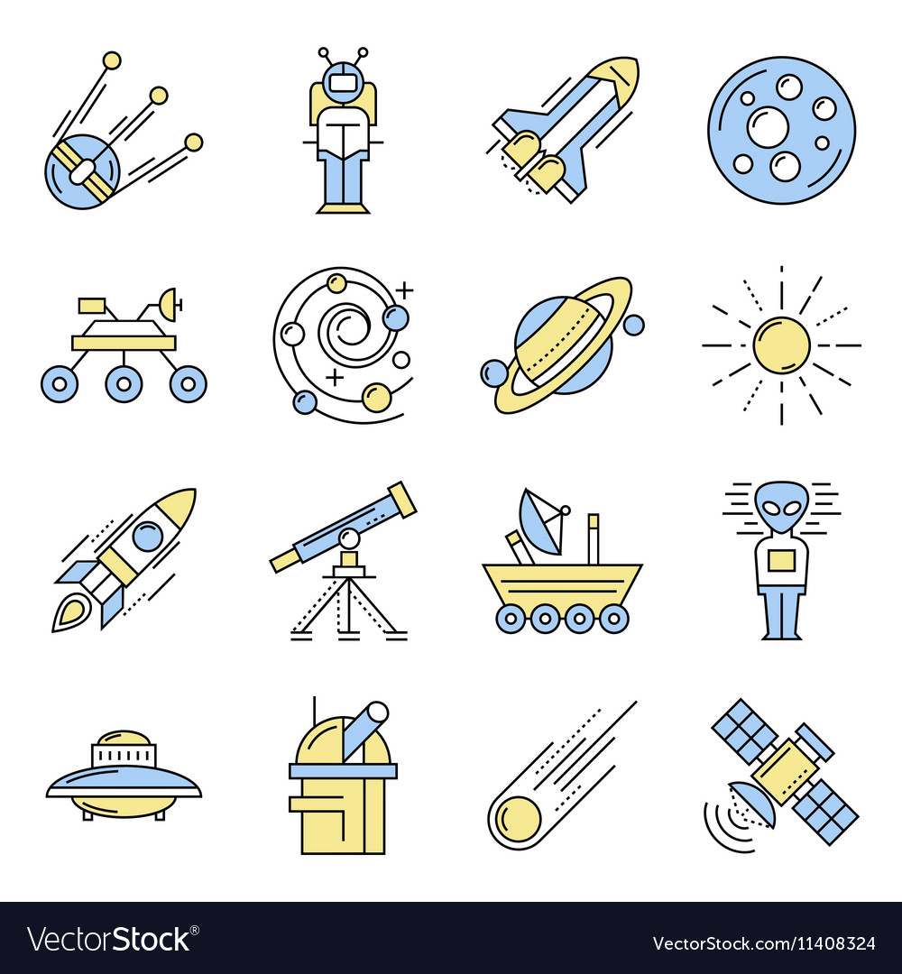 Space Line Icon Set In Color