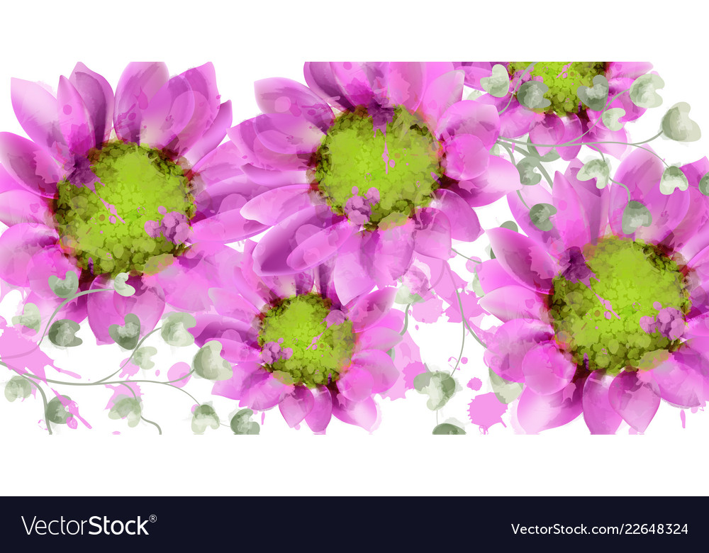 Spring daisy flowers background watercolor