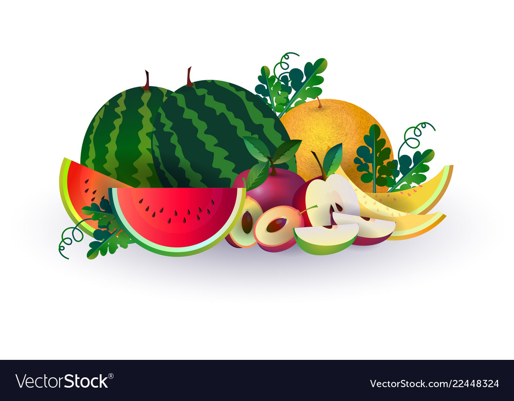Watermelon melon apple fruits on white background