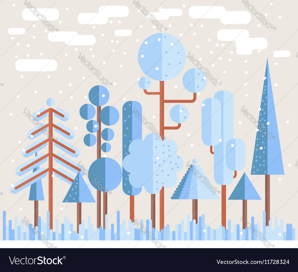 Winter Tree Forest Flat vector image