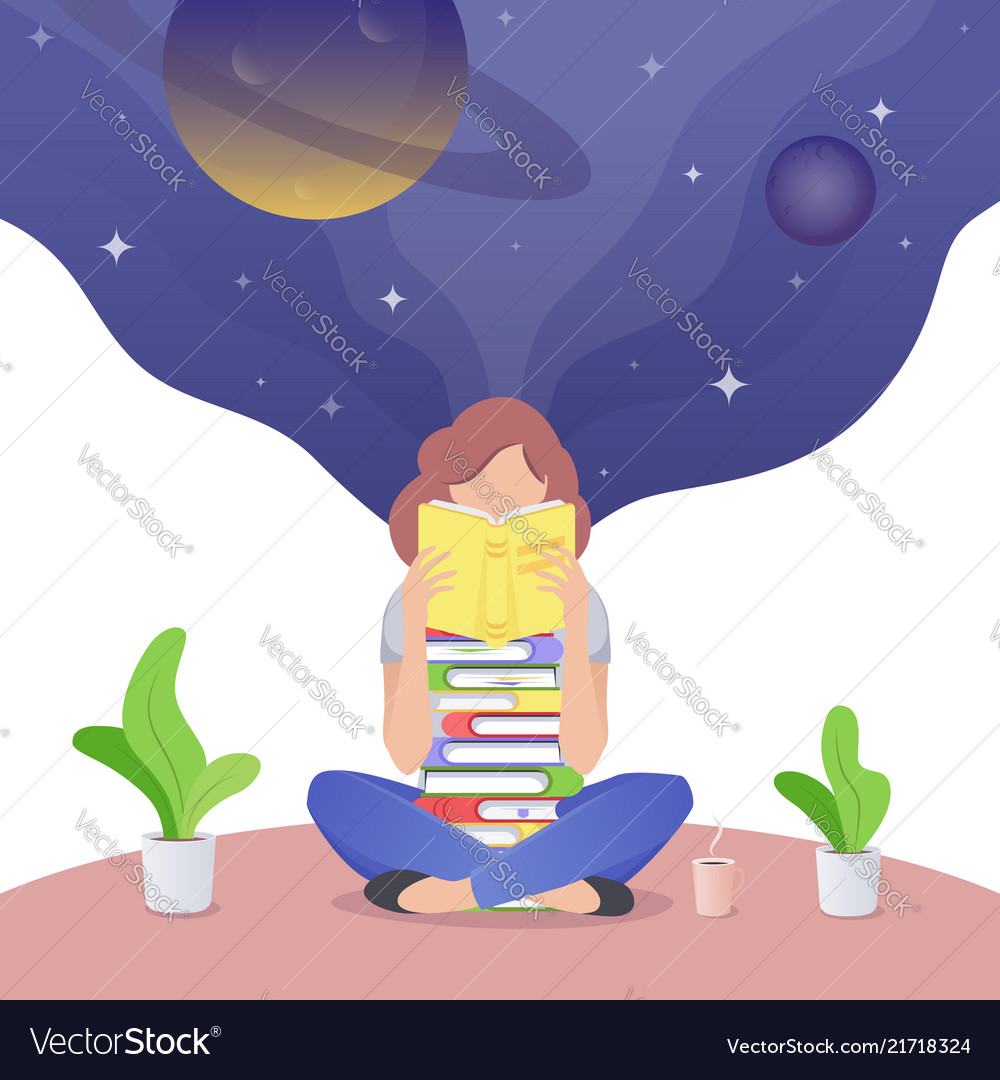 Young adult girl reading and dreaming woman