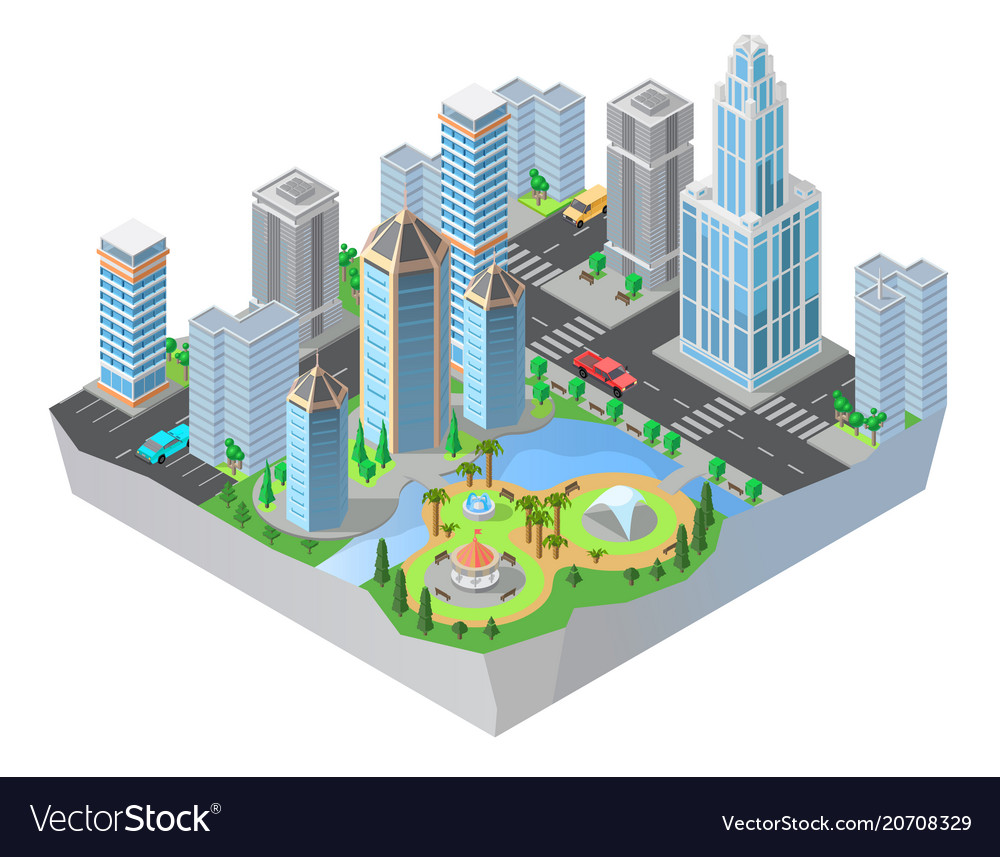3d isometric city cityscape map of town