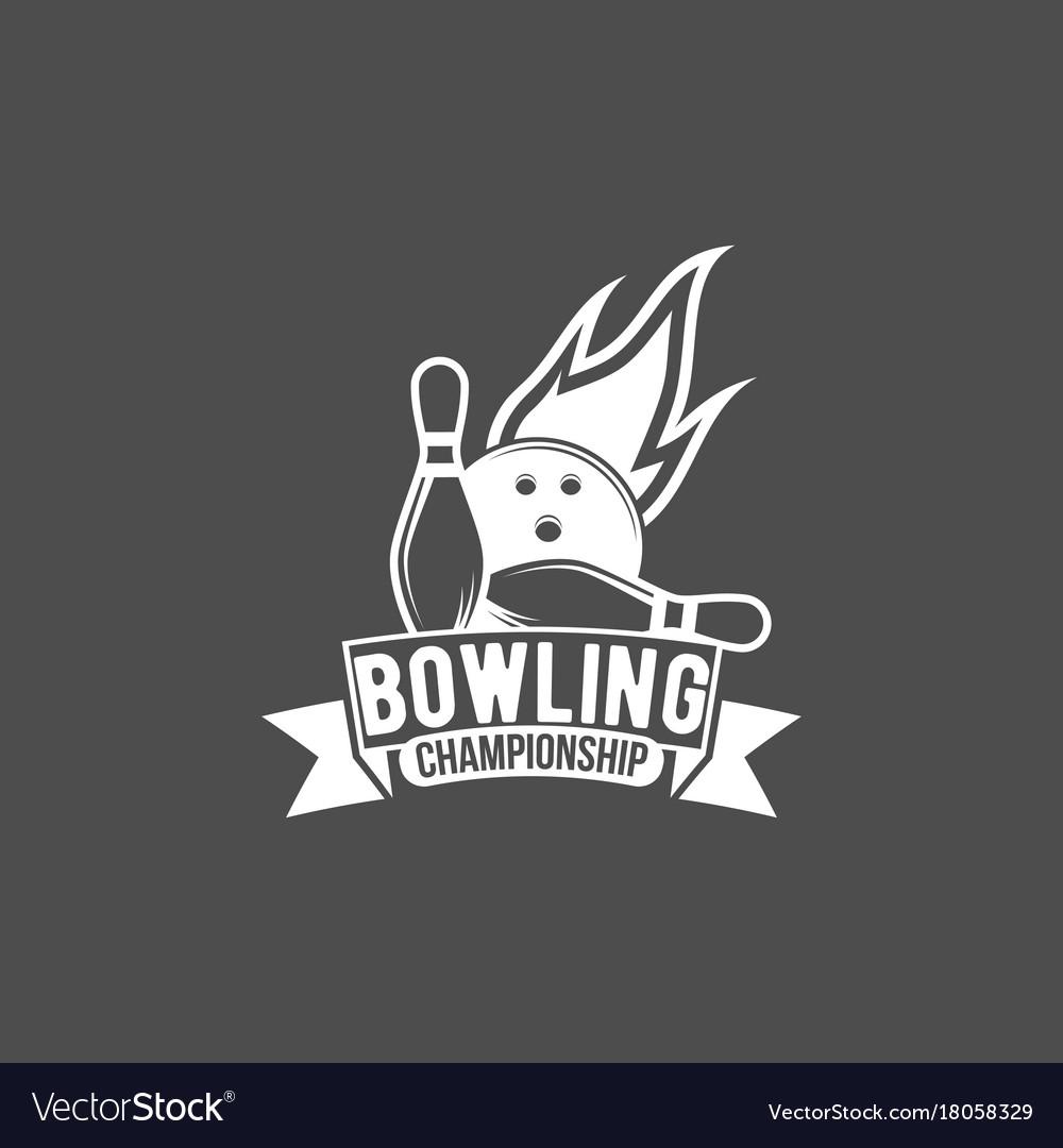 Bowling emblem label badge and designe elements