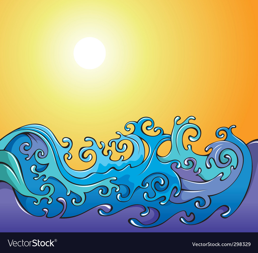 Cartoon waves background vector image