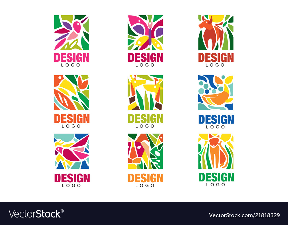 Design lodo set labels with plants birds and