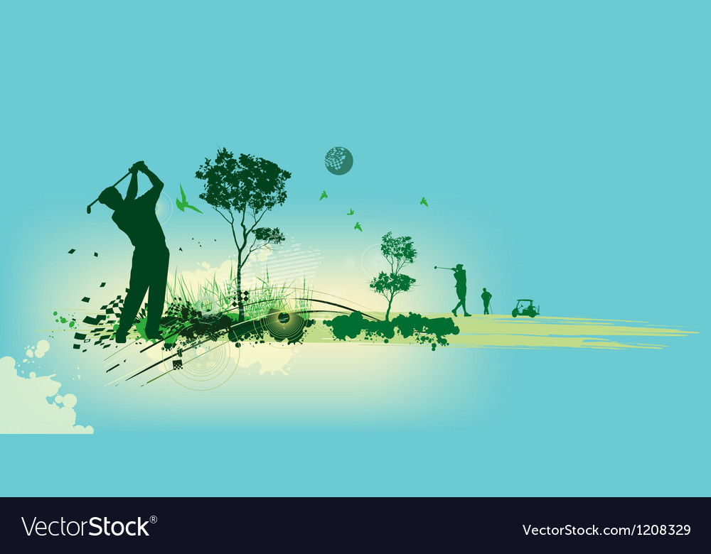 Golf Silhouettes in blue background