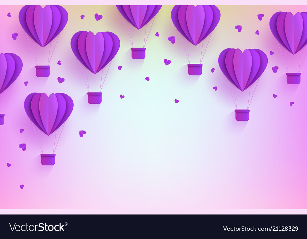 Heart shaped violet hot air balloons in trendy