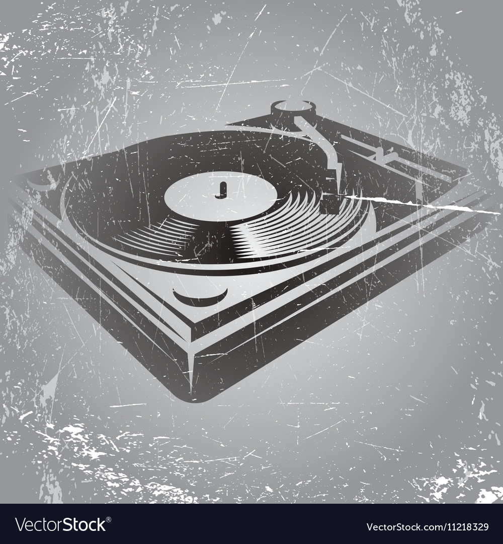 In retro style with DJ console on