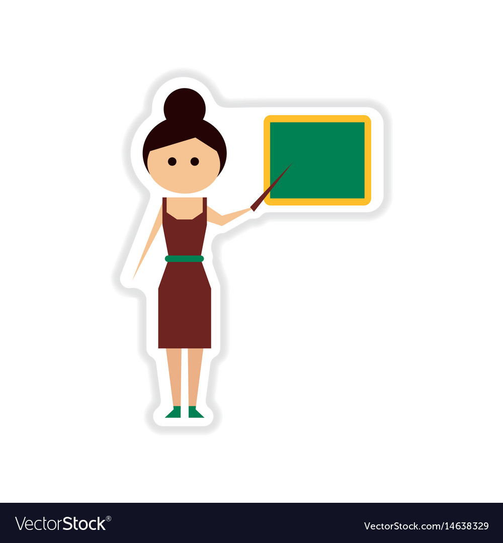 paper sticker on white background woman teacher vector image rh vectorstock com victor woman arrested at darien lake concert victor woman arrested at darien lake concert