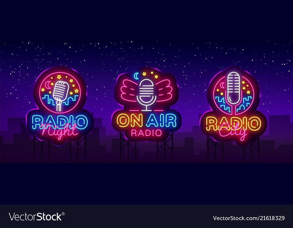 Radio neon sign collection radio night
