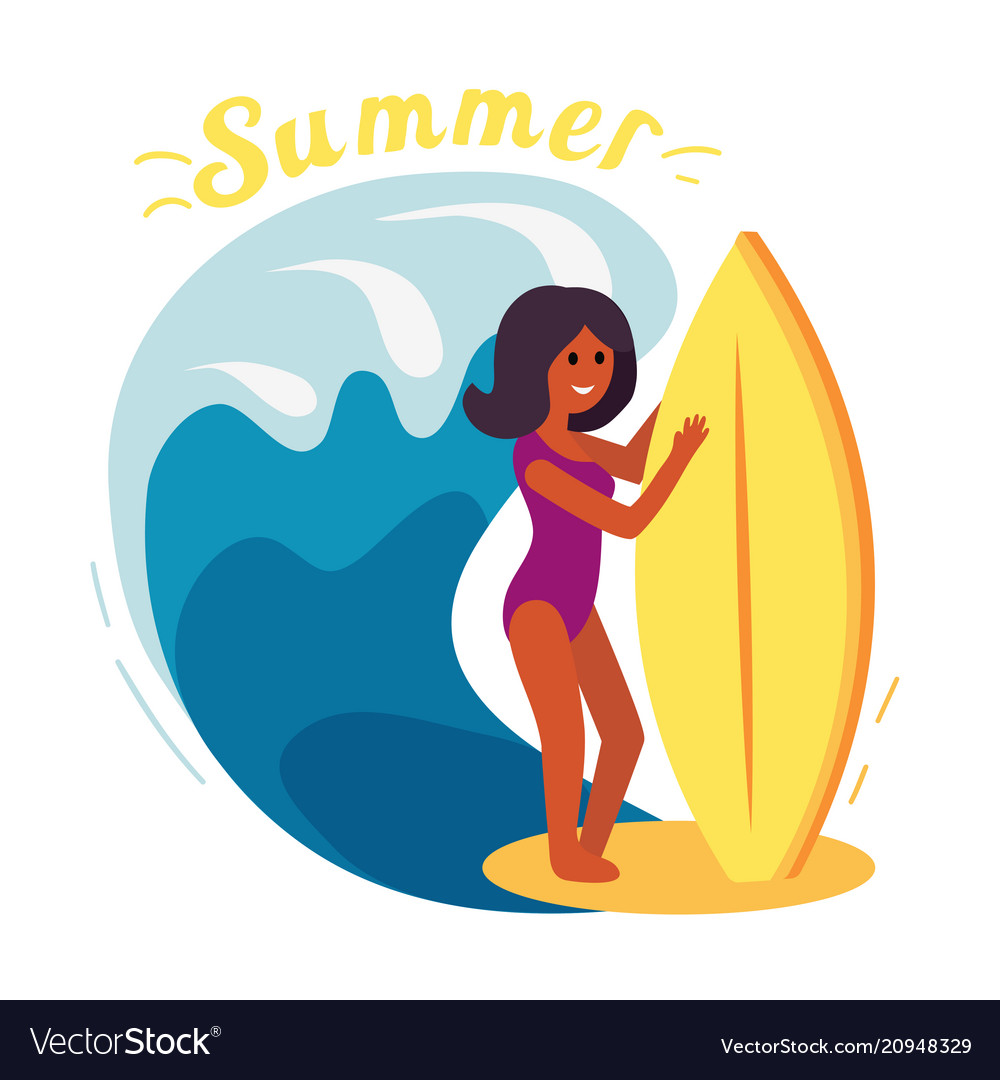 Summer surfer girl vector image