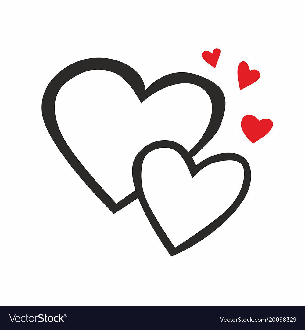 Two hearts line icon vector image