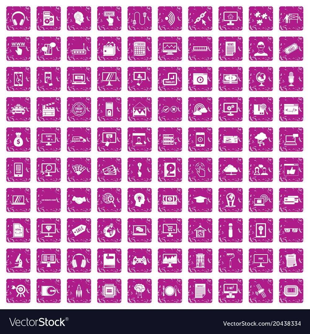100 website icons set grunge pink vector image