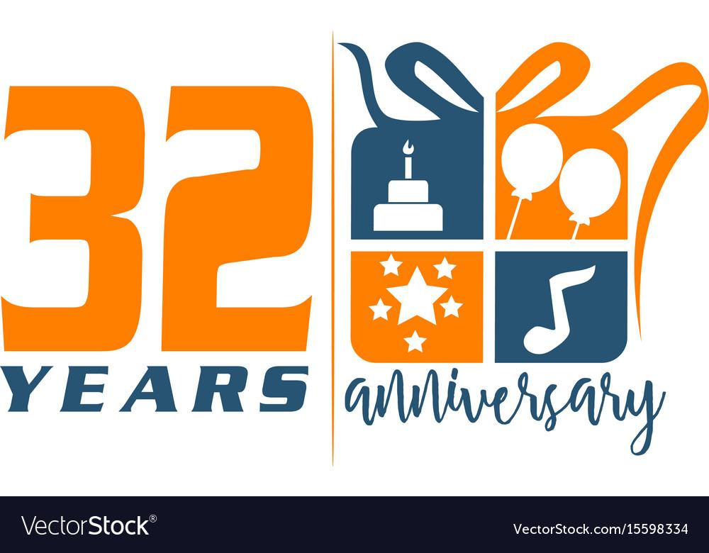 32 Year Gift Box Ribbon Anniversary Vector Image